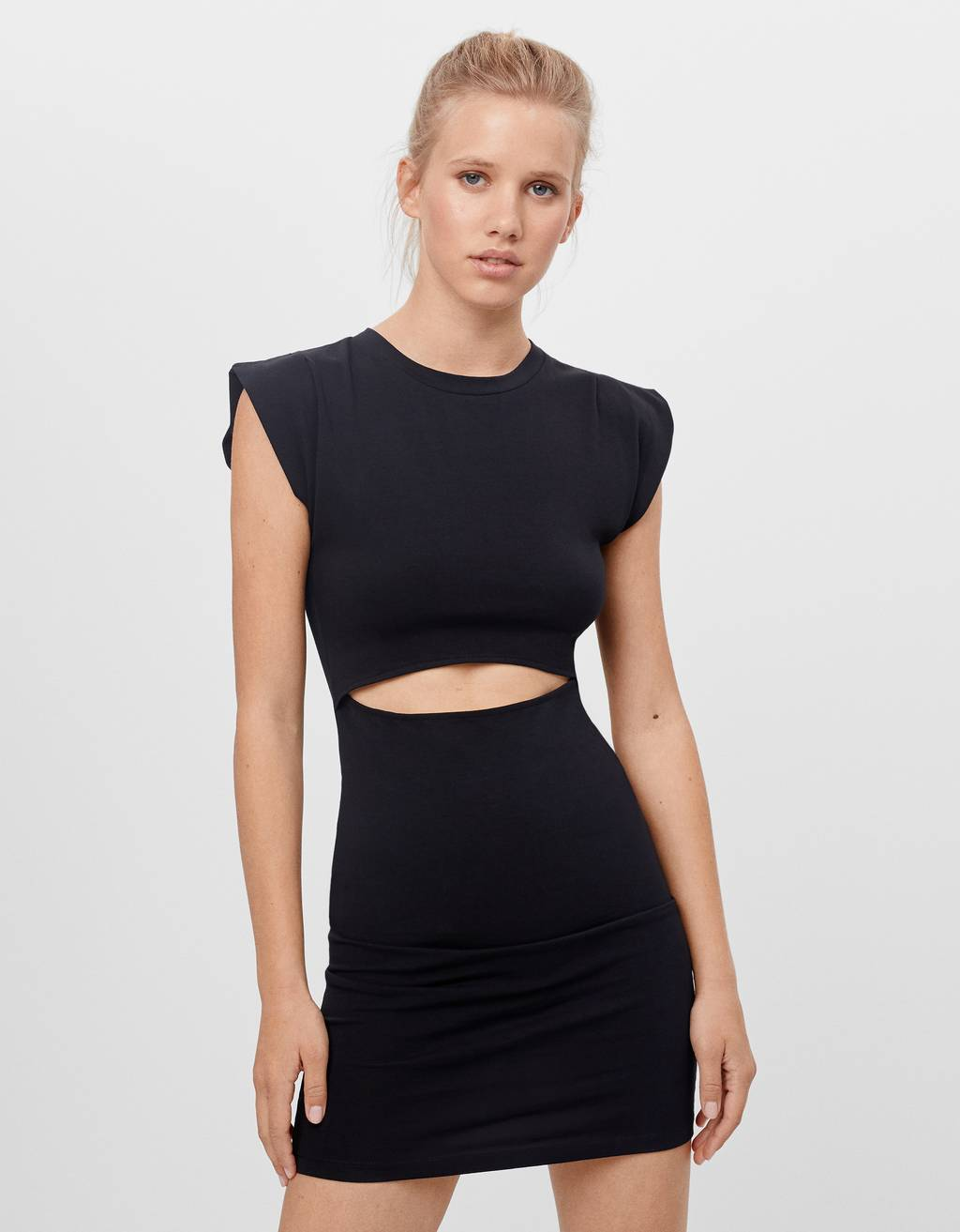 Cut-out dress with shoulder pads