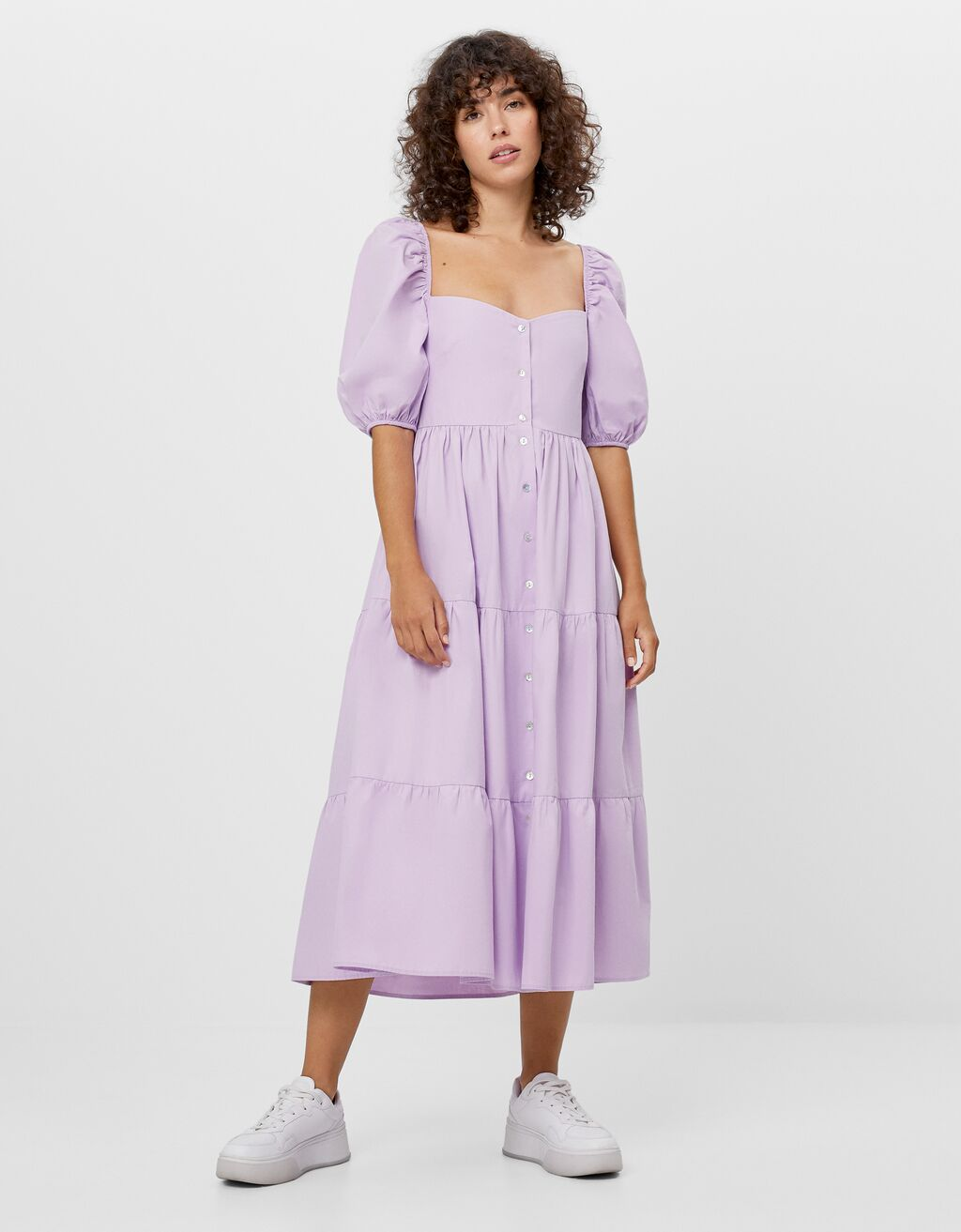Poplin dress with ruffles
