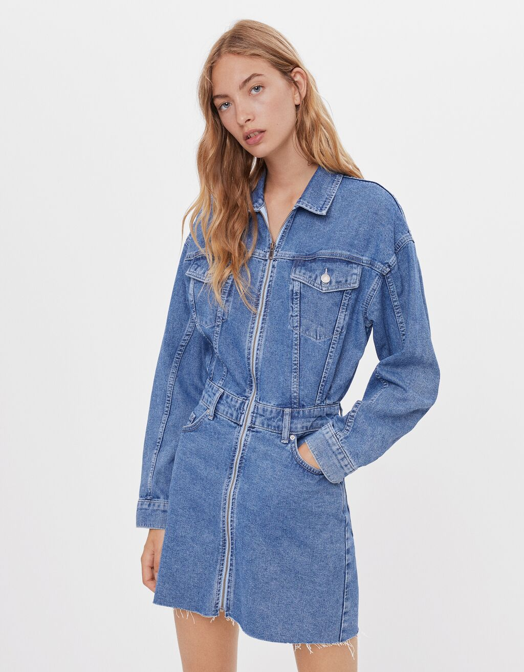 Robe denim zippée