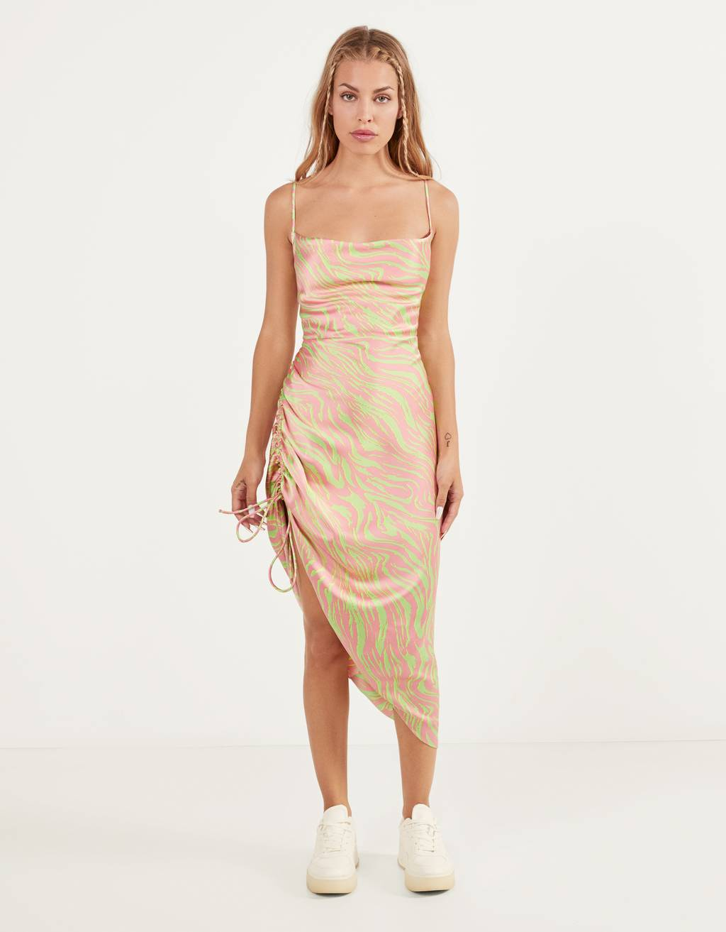 Printed dress with draped detail