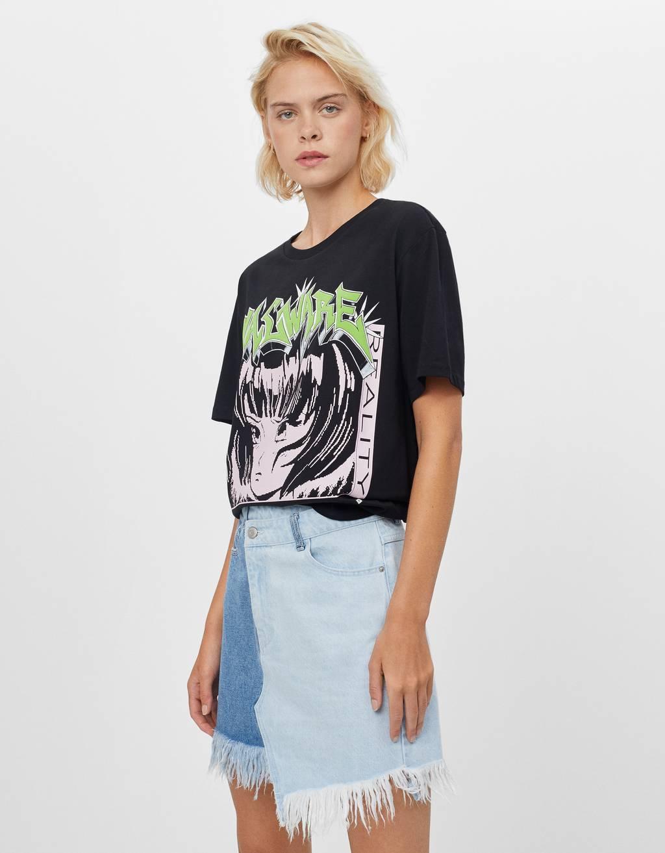 Contrasting denim skirt