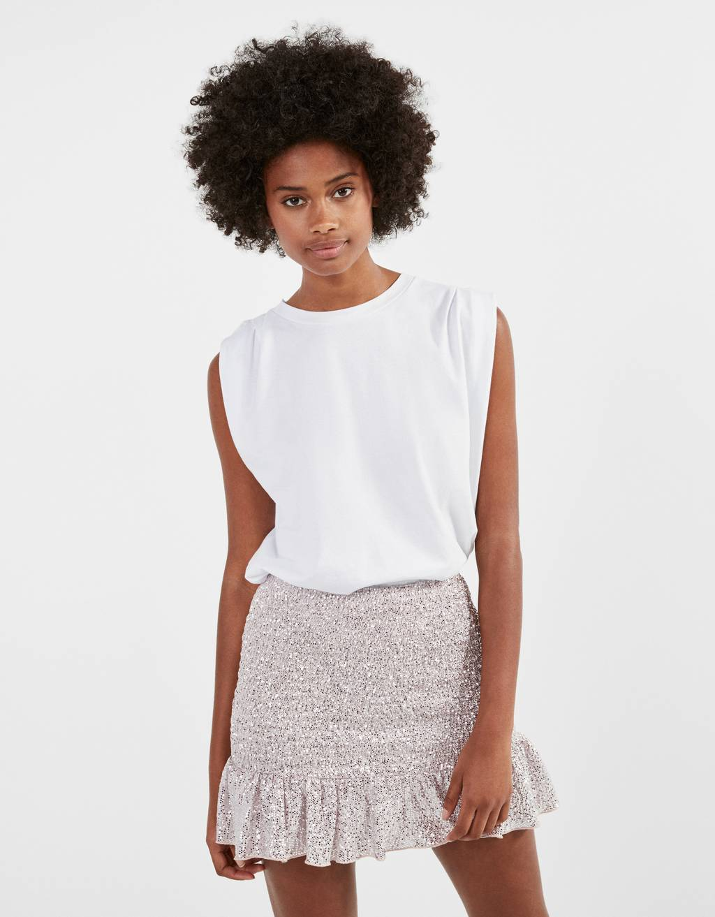 Sparkly skirt with shirring