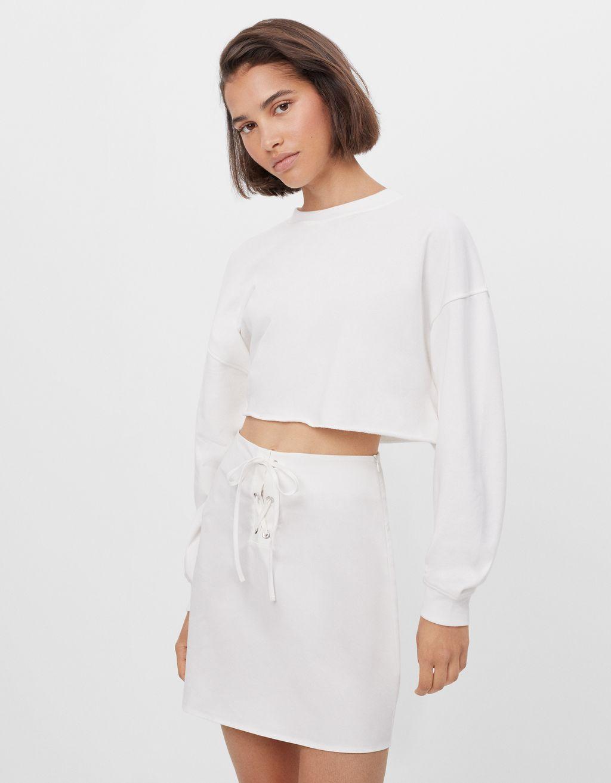 Poplin mini skirt