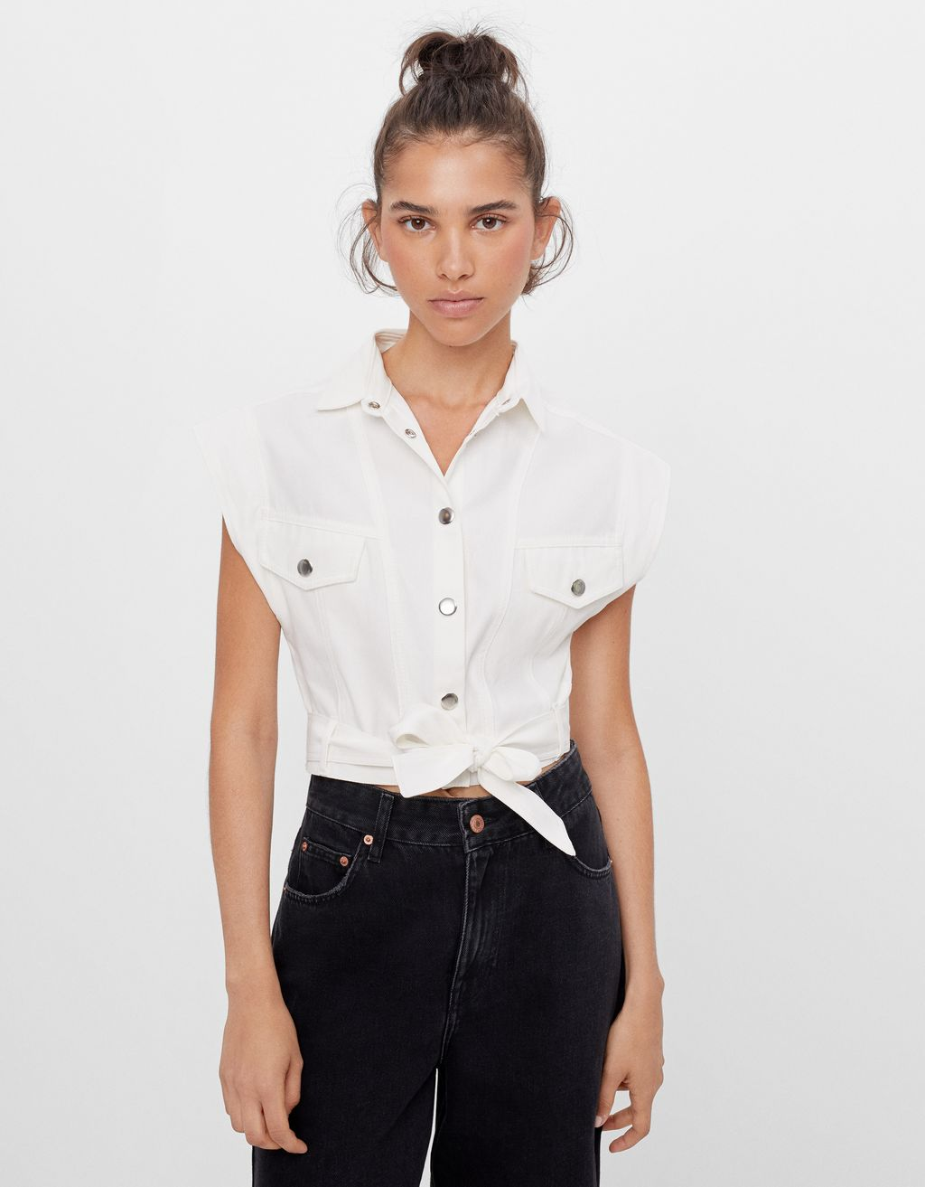 Cropped shirt with belt detail