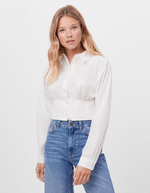 Corset poplin shirt
