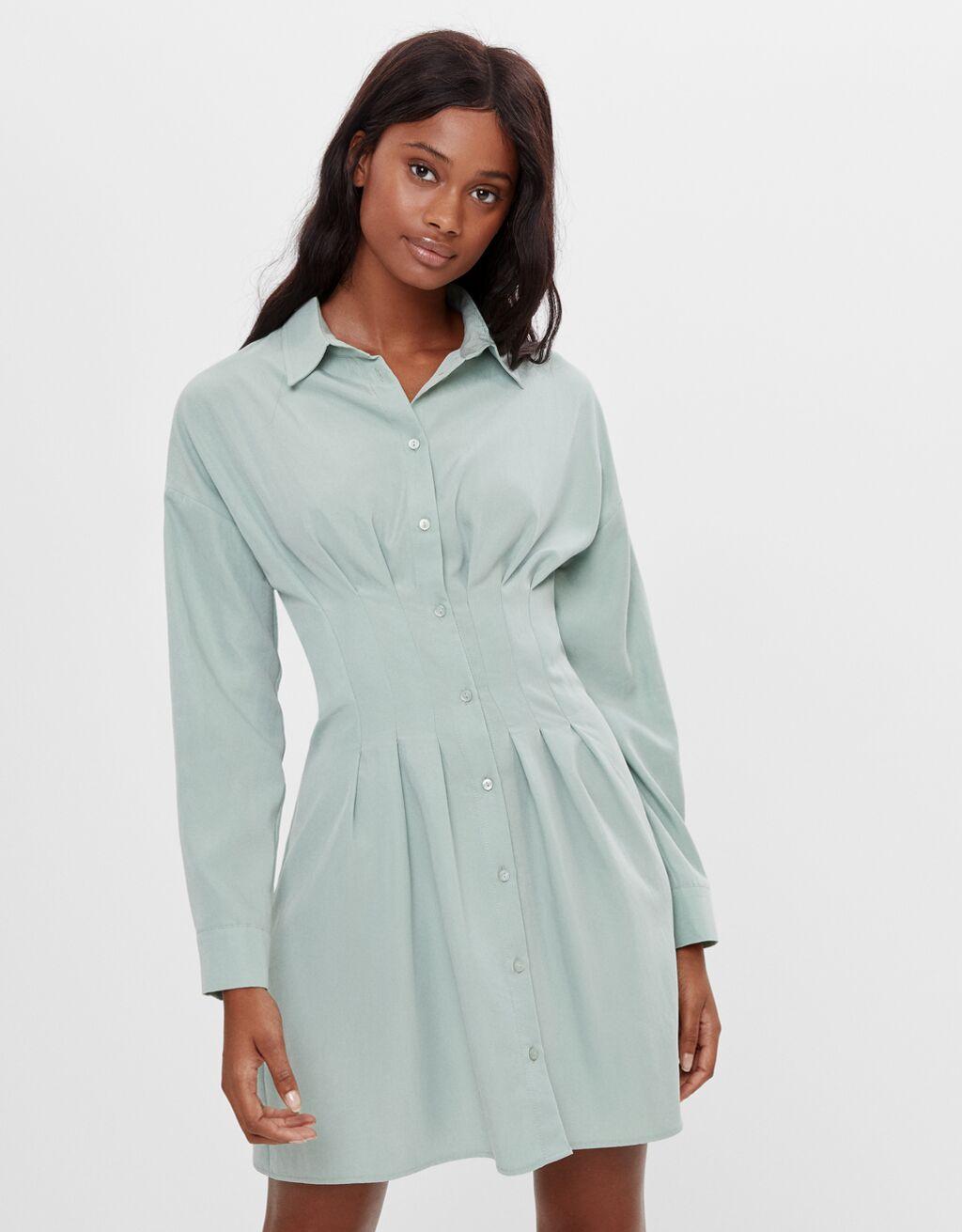 Hemdkleid Zierfalten - Kleider - Damen