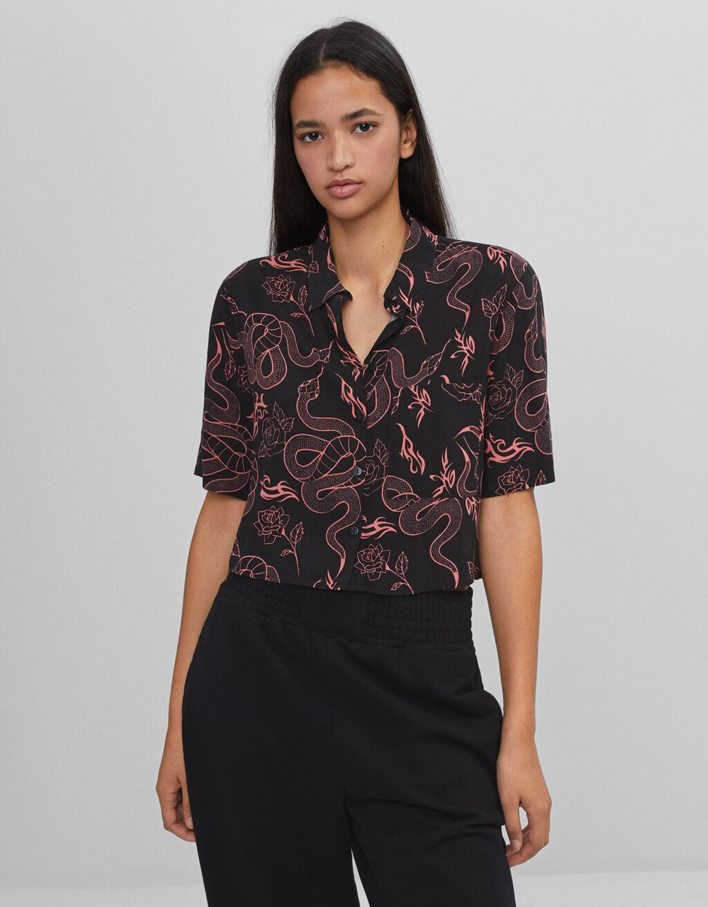 Camicia cropped stampa