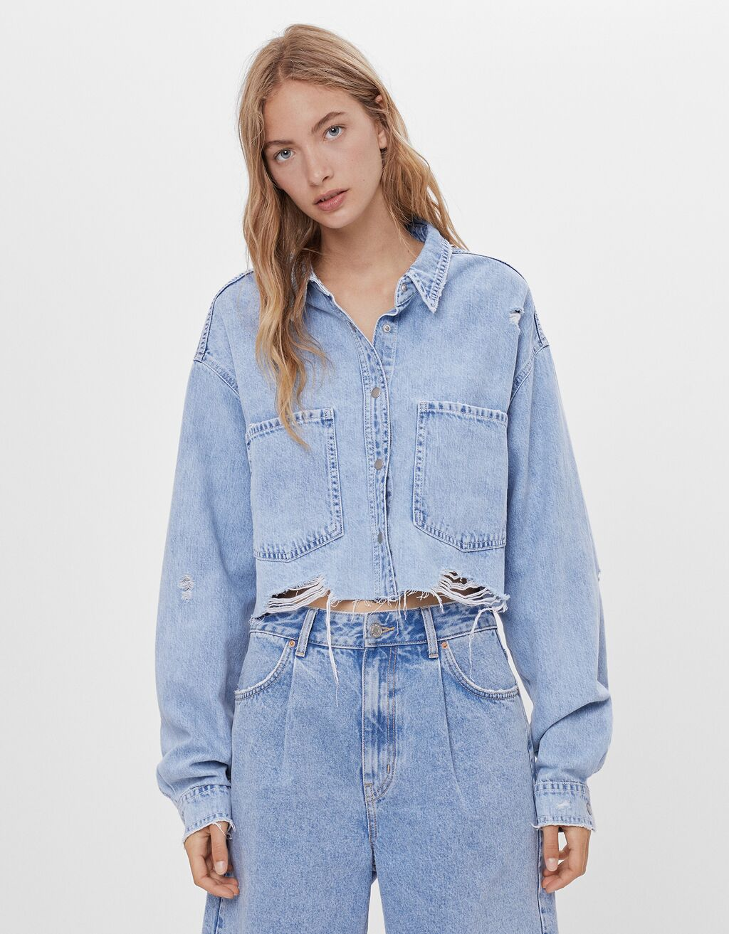 Surchemise cropped denim