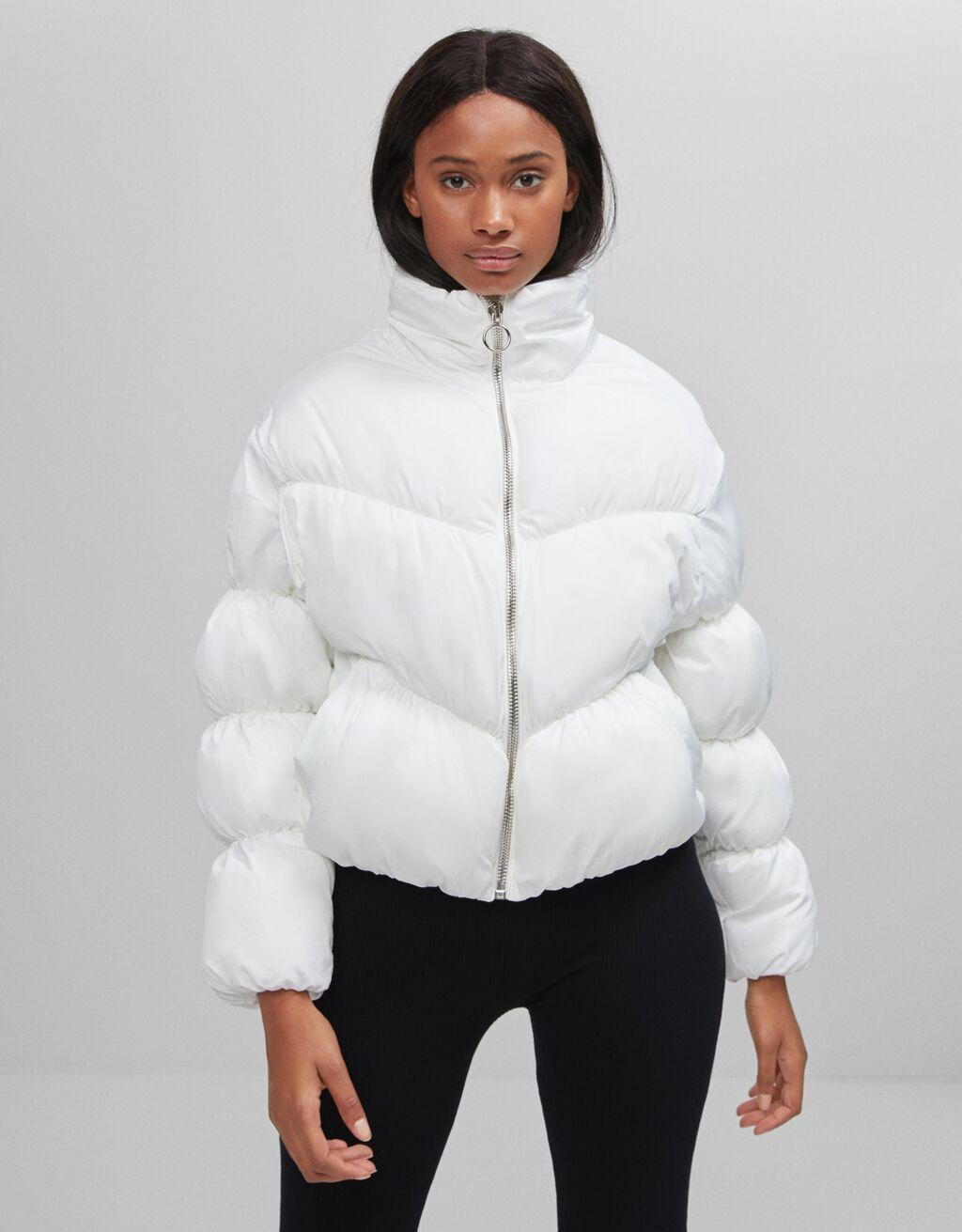 Gathered puffer jacket