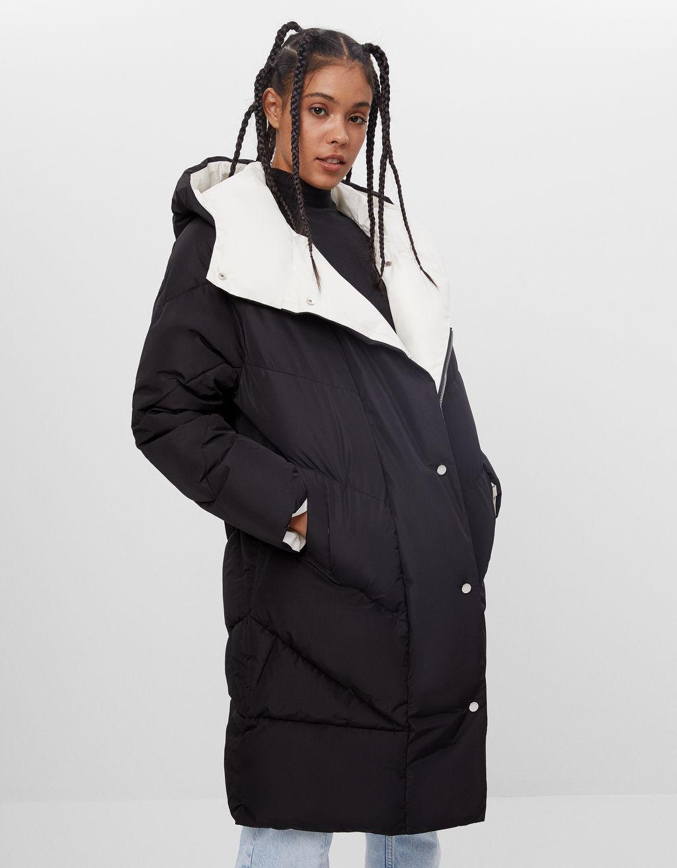 Abrigo forro capucha-Negro-0