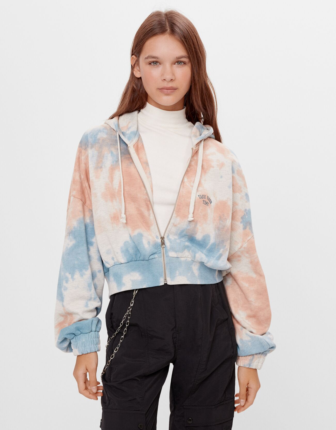 bershka -  Jacke Mit Tie-Dye-Print Und Kapuze Damen L Ausgewaschenes Blau