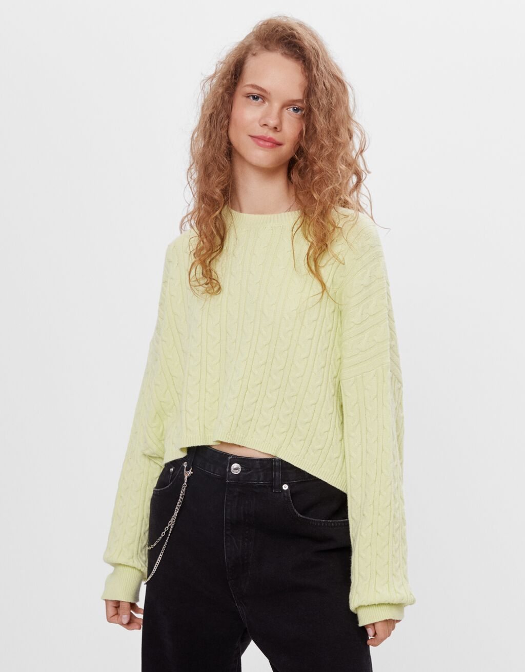 Cable knit sweater with wide sleeves