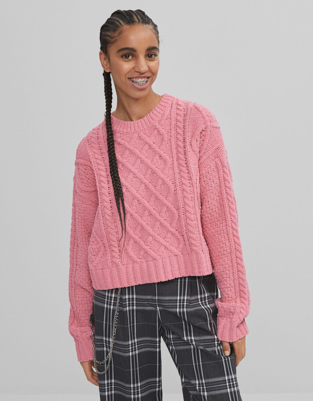 Cable-knit chenille sweater - Knitwear and sweatshirts - Woman