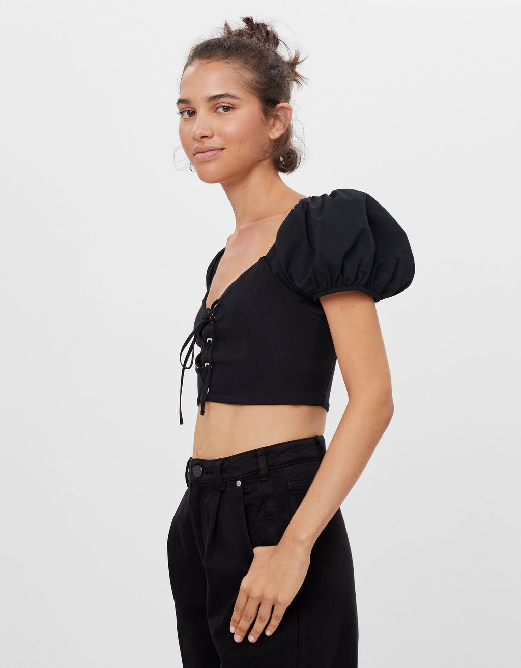 T-shirt cropped popeline