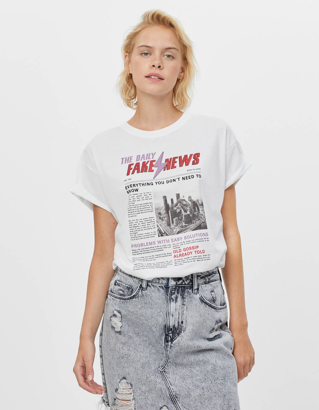 T-shirt with news print