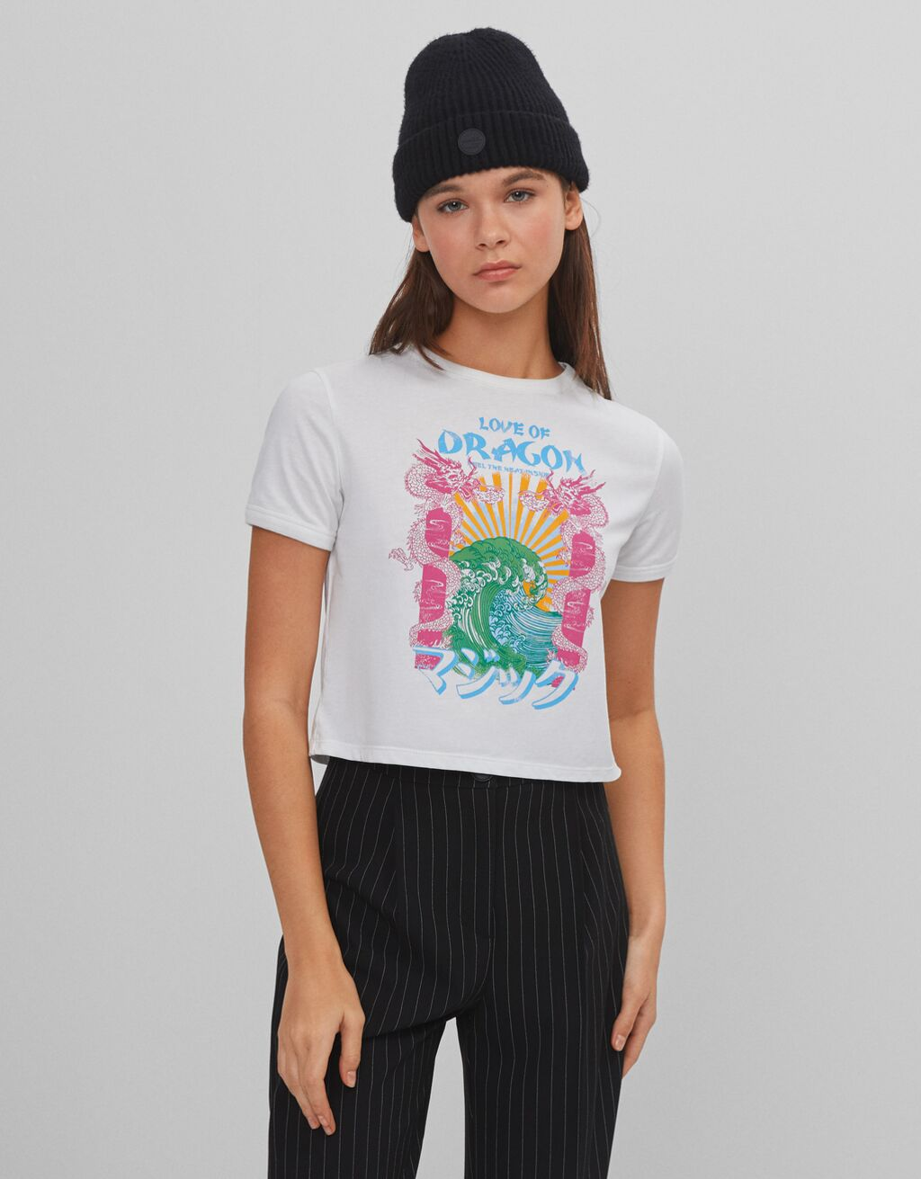 Cropped dragon T-shirt