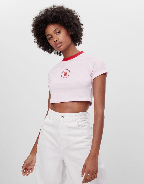 Contrast neckline T-shirt