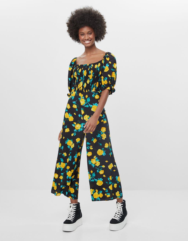 Langer Jumpsuit mit Blumenprint - Kleider - Damen