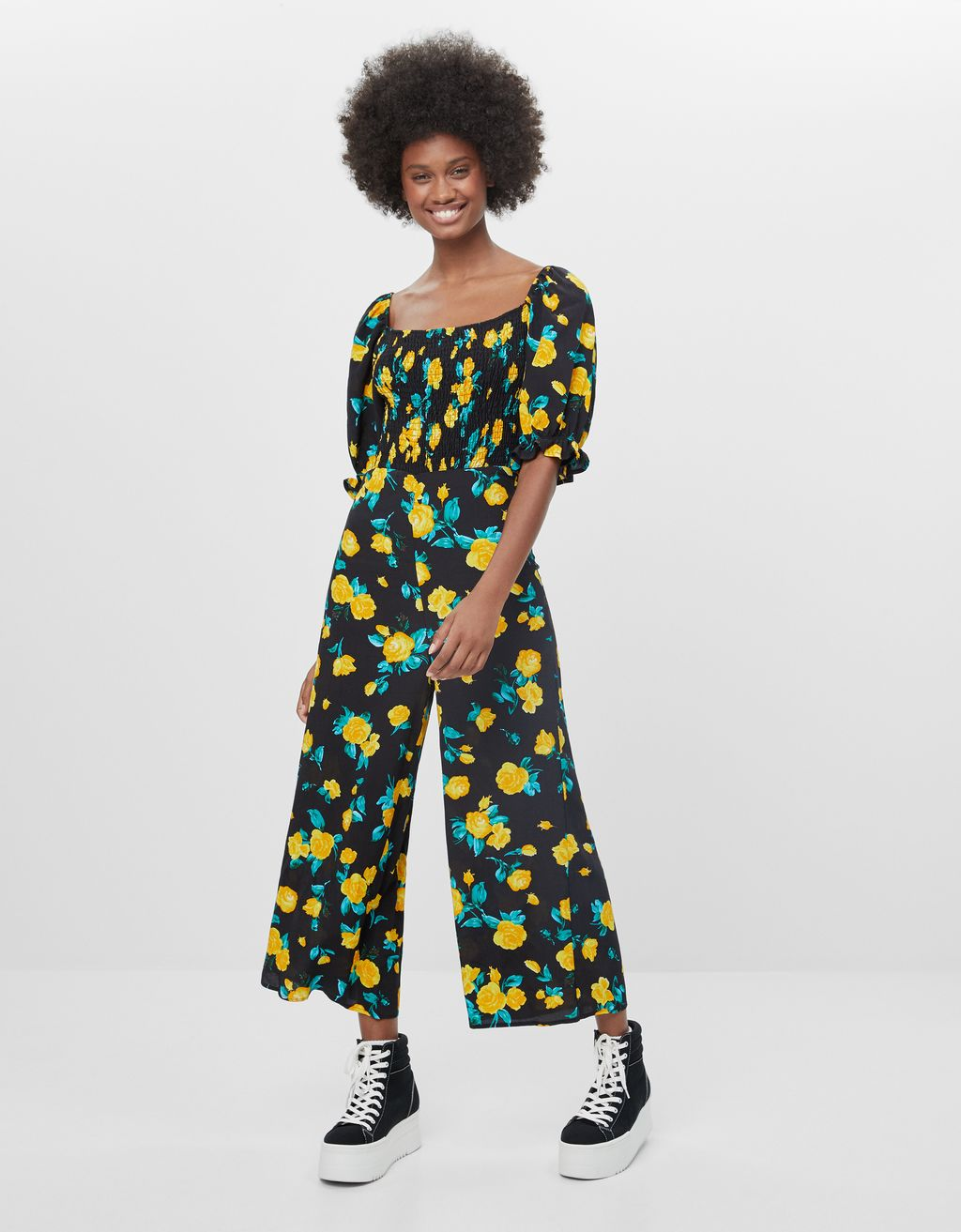 Floral jumpsuit with long