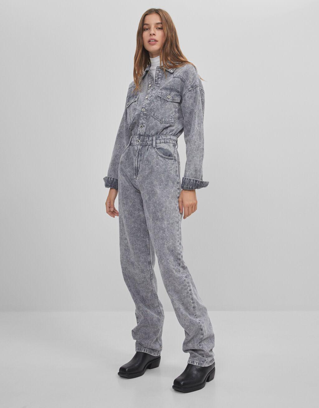Lange Jeans-Latzhose - Kleider - Damen