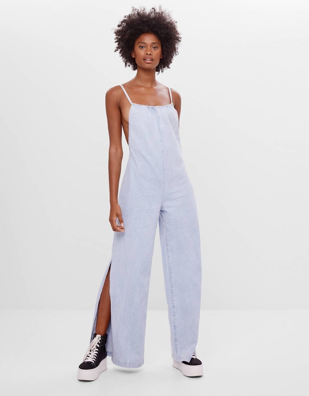 Jeans-Jumpsuit mit Schlitzen - Kleider - Damen