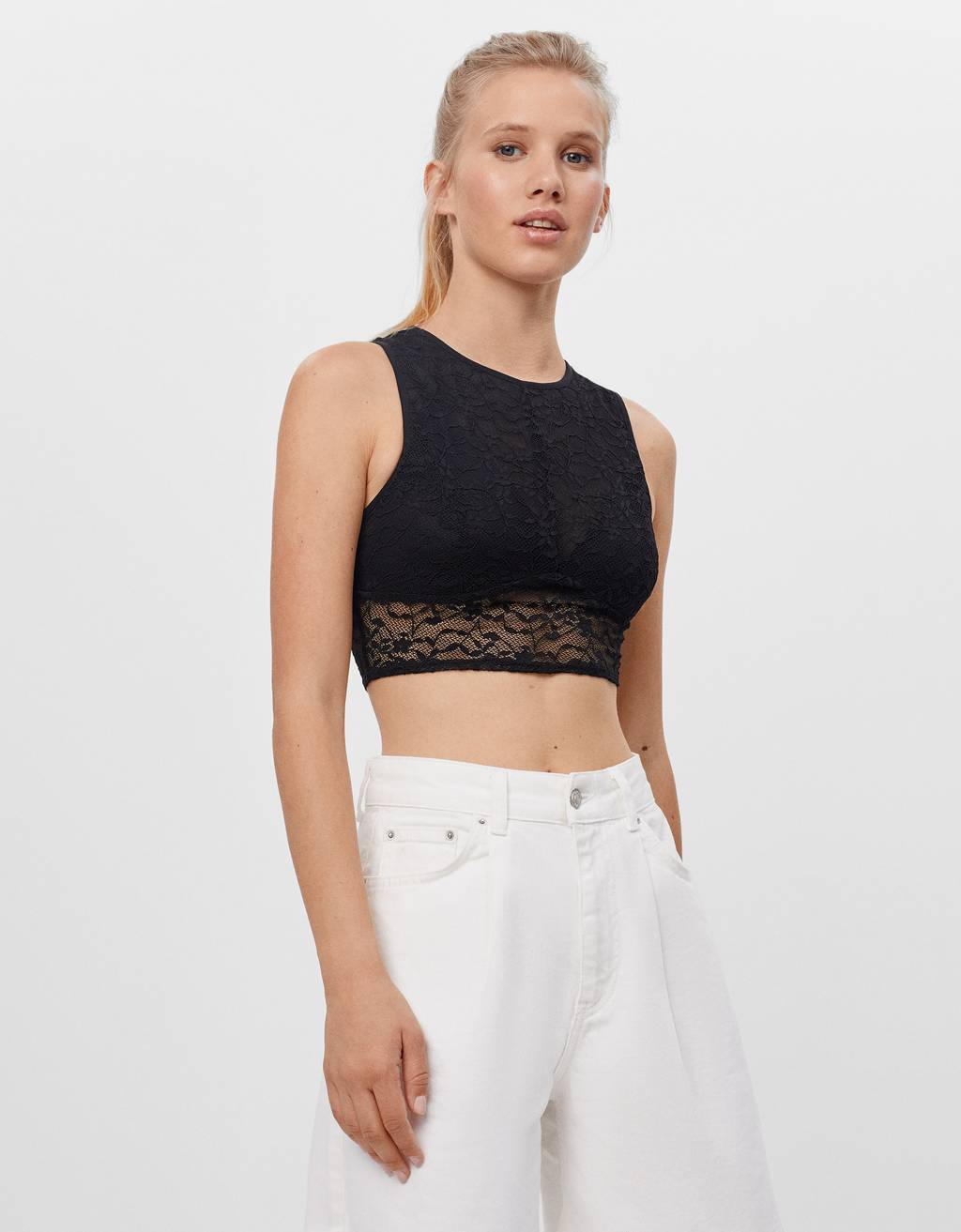 Cropped-Top mit Spitze