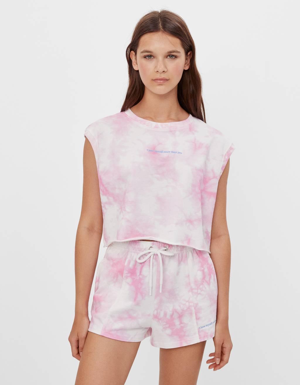 Tie-dye cropped T-shirt