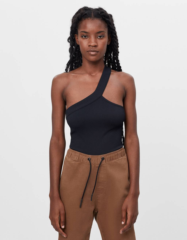 Asymmetric strappy bodysuit