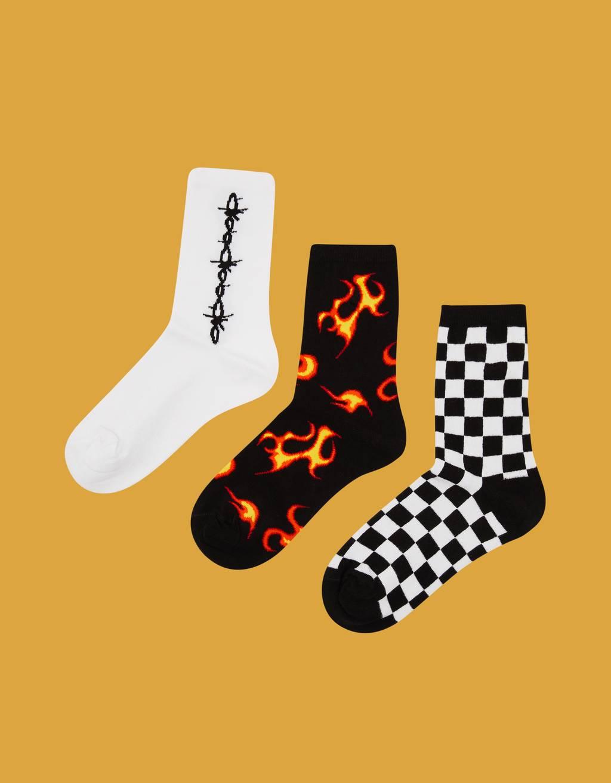 Flame print socks