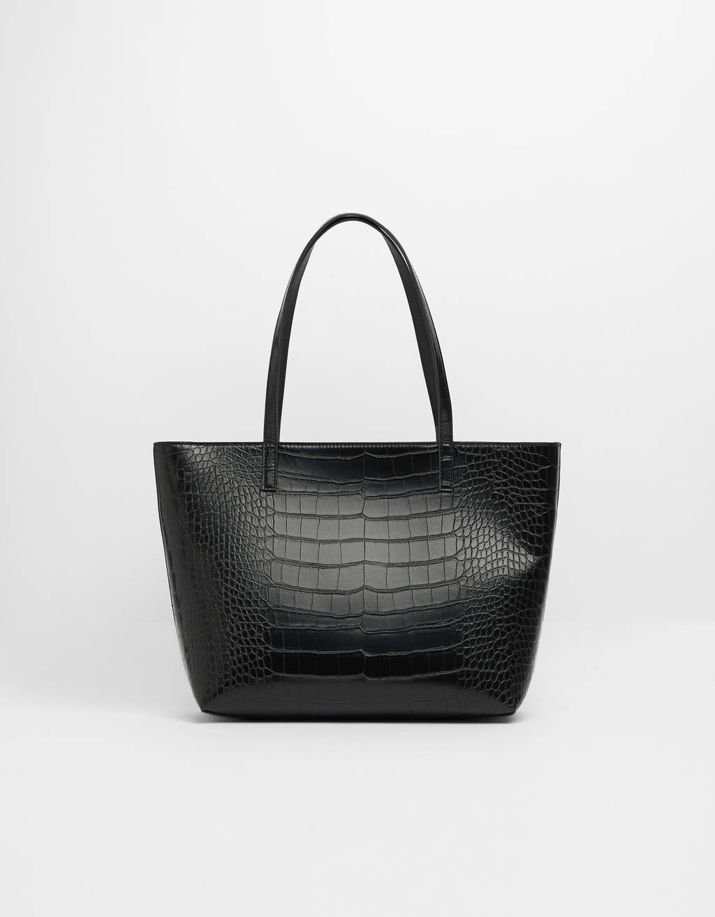 Mock croc tote bag