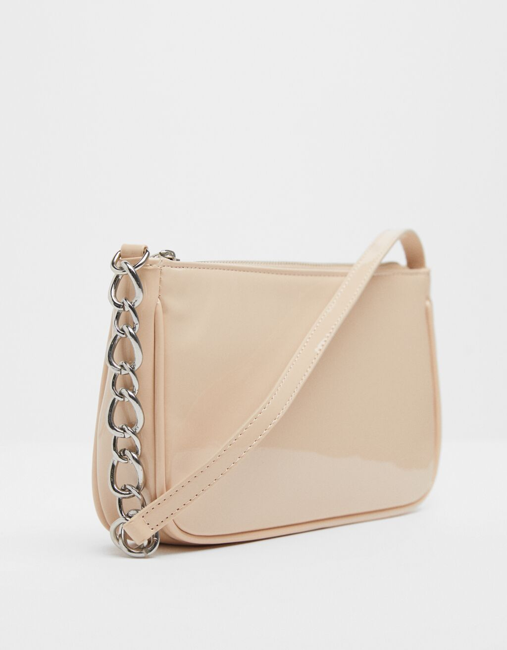 Patent finish shoulder bag