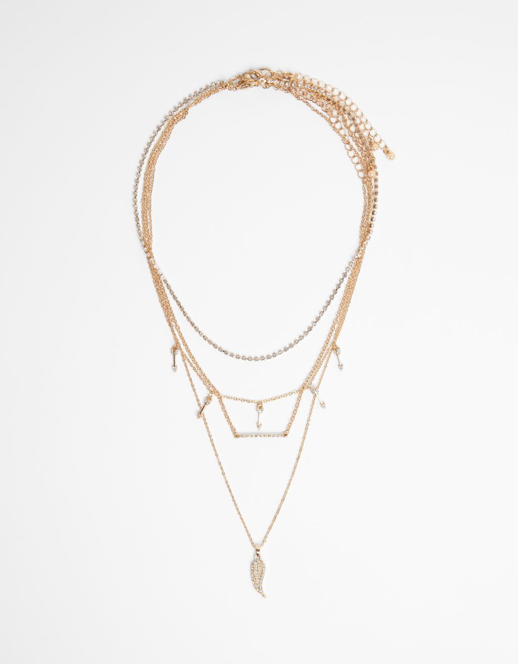 Multi-chain wing pendant necklace