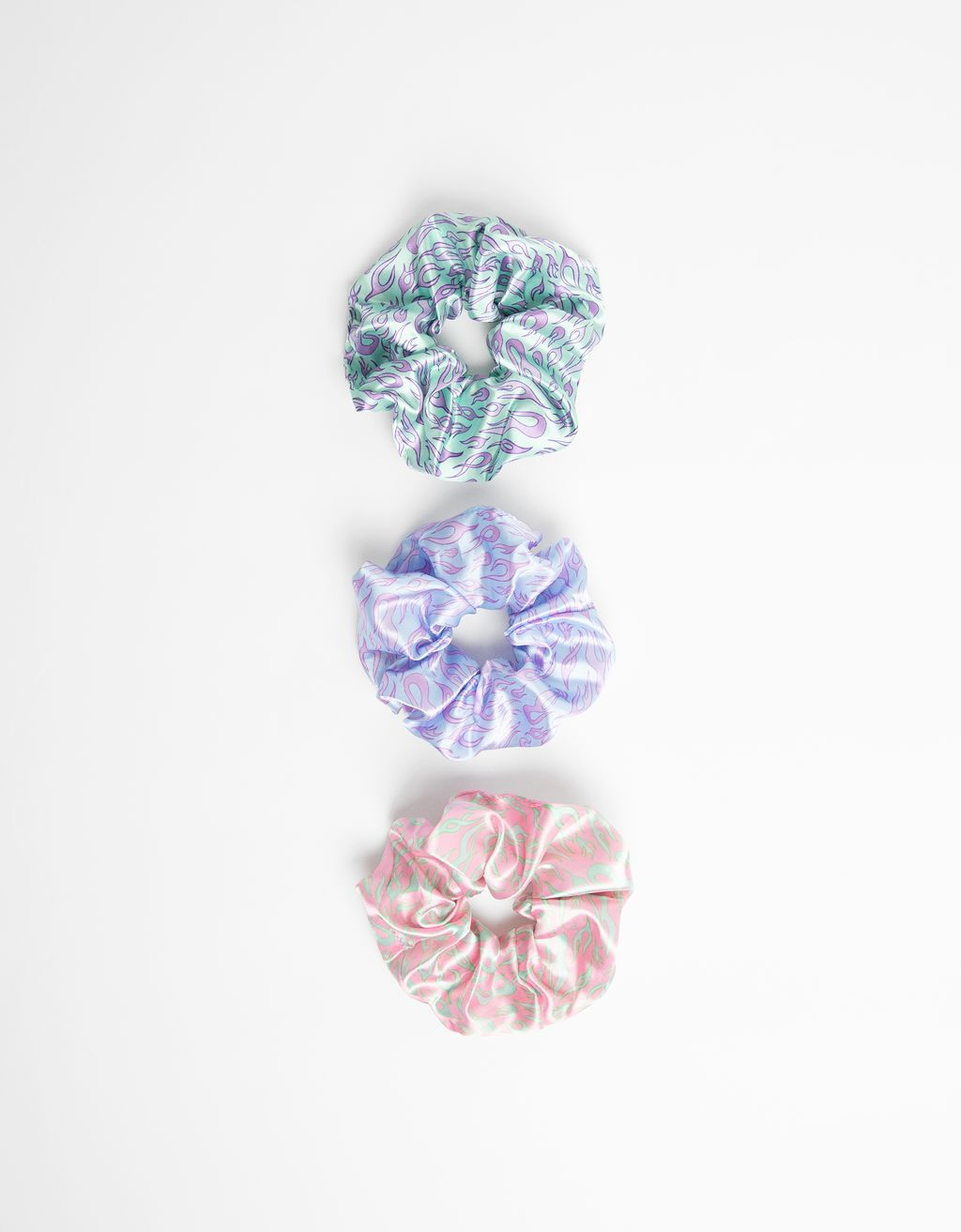 Pack of flame print scrunchies