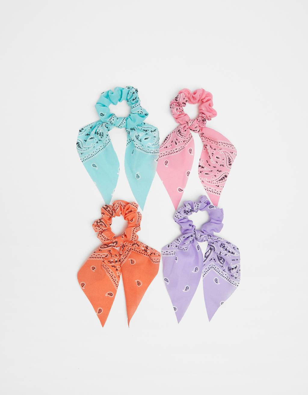 Pack of paisley print scrunchies