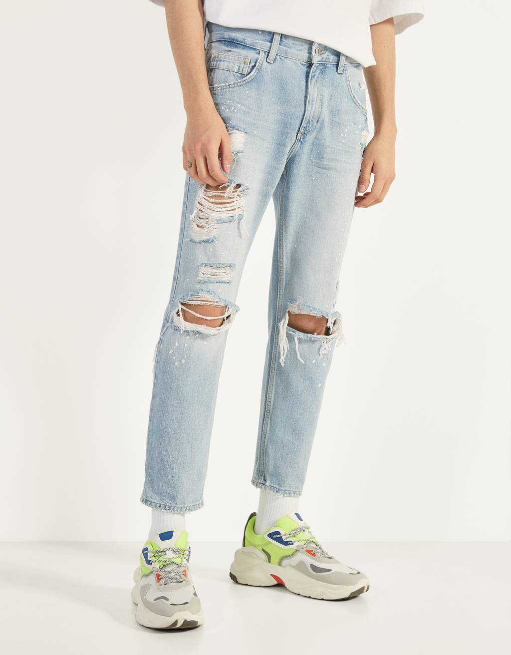 Jeans Slim Fit cropped con rotos