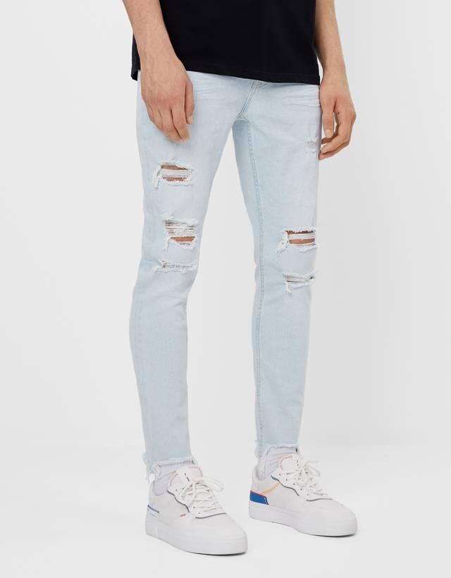 Jeans Super Skinny Rotos Favoritos Rebajas Hombre Bershka