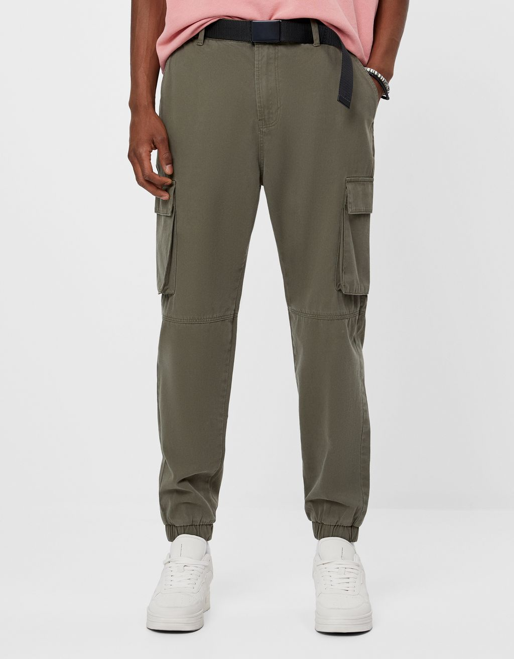 Belted cargo trousers