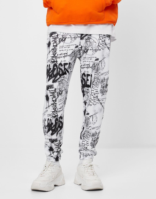 Pantaloni jogger graffiti