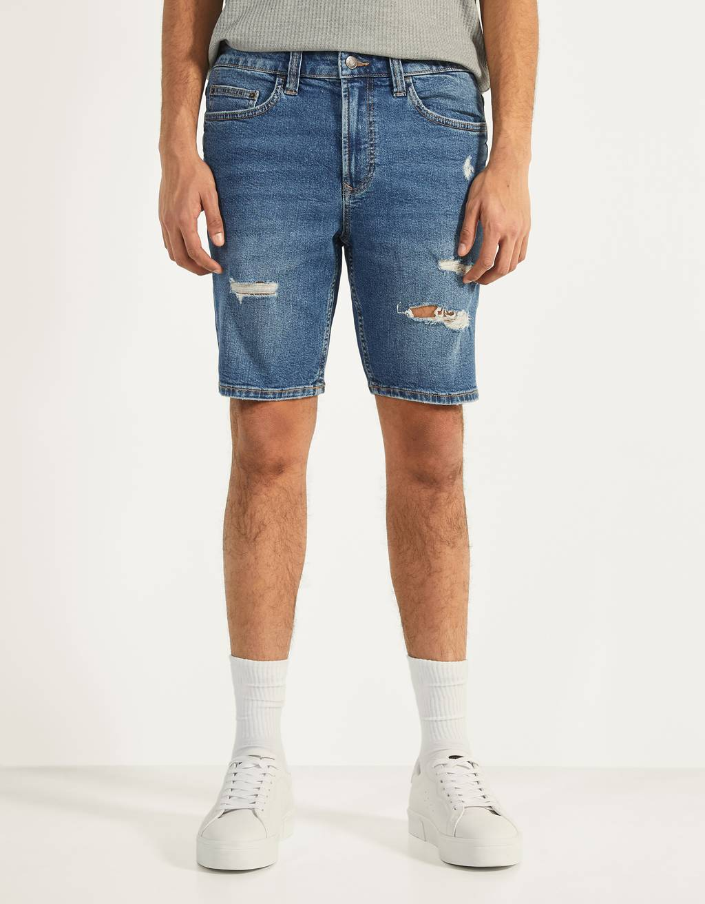 Bermuda en denim coupe skinny