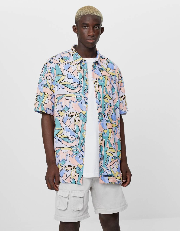 Skjorta med pastellmönster