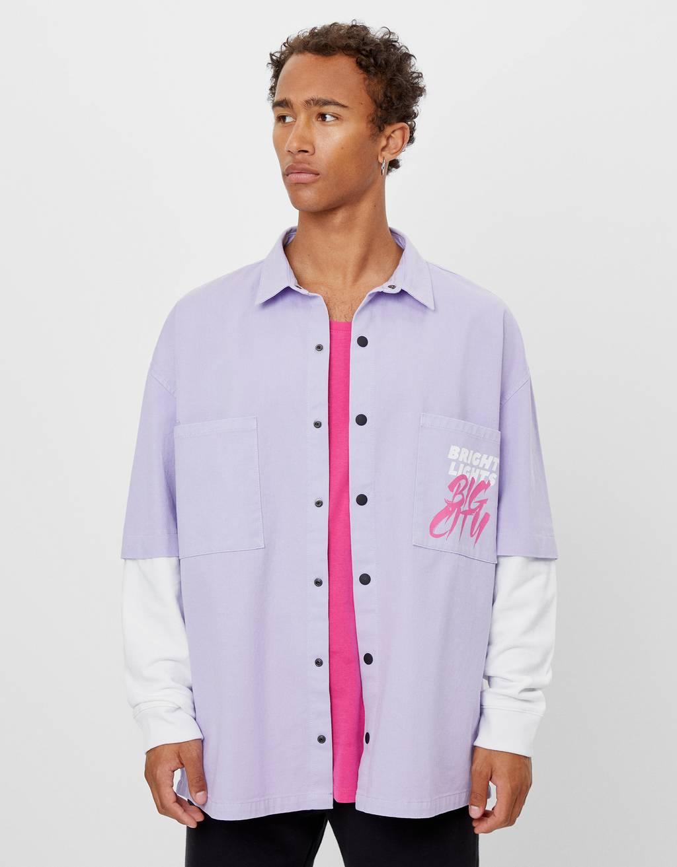Koszula wierzchnia z rękawami w kontrastowym kolorze