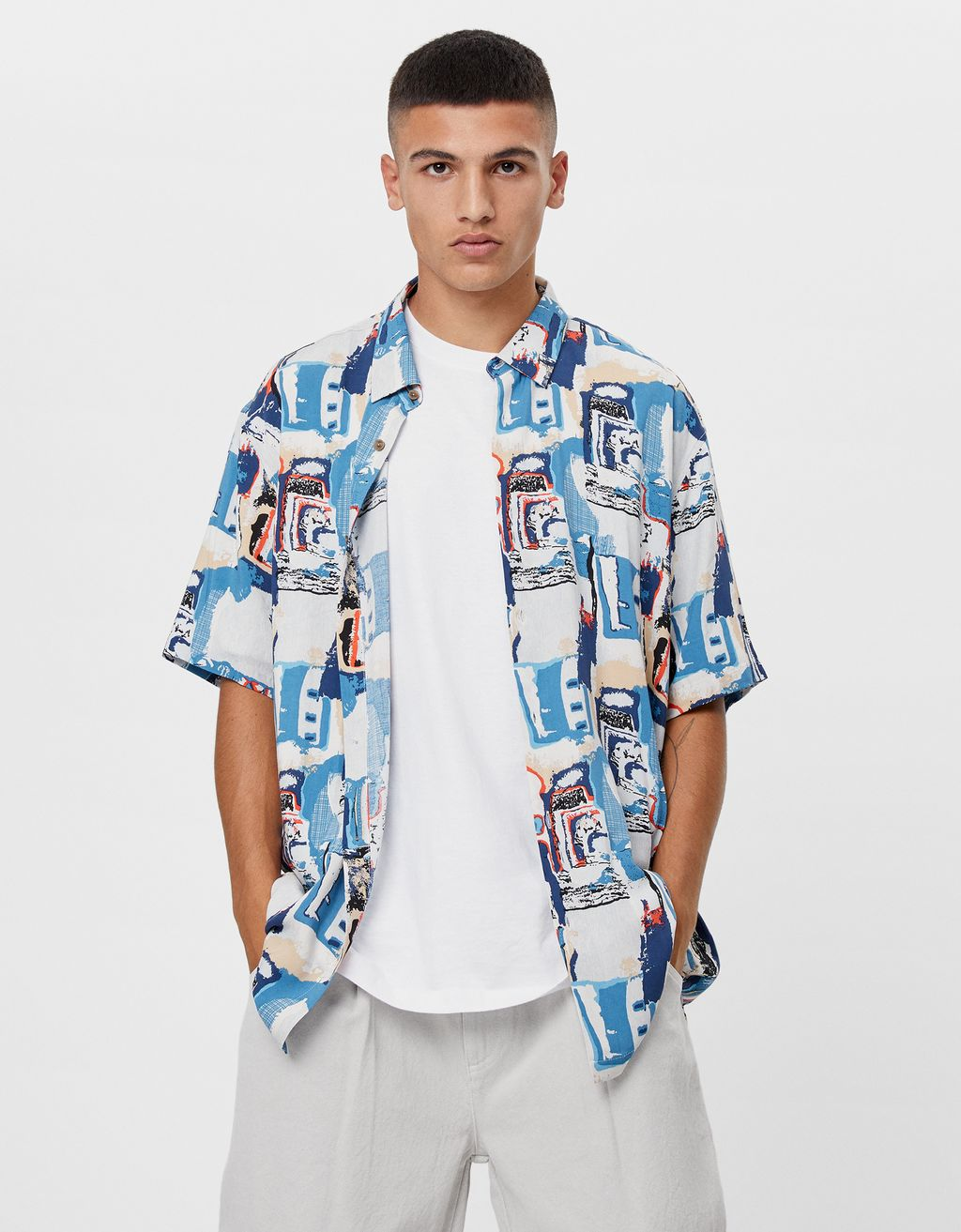 Shirt with abstract print