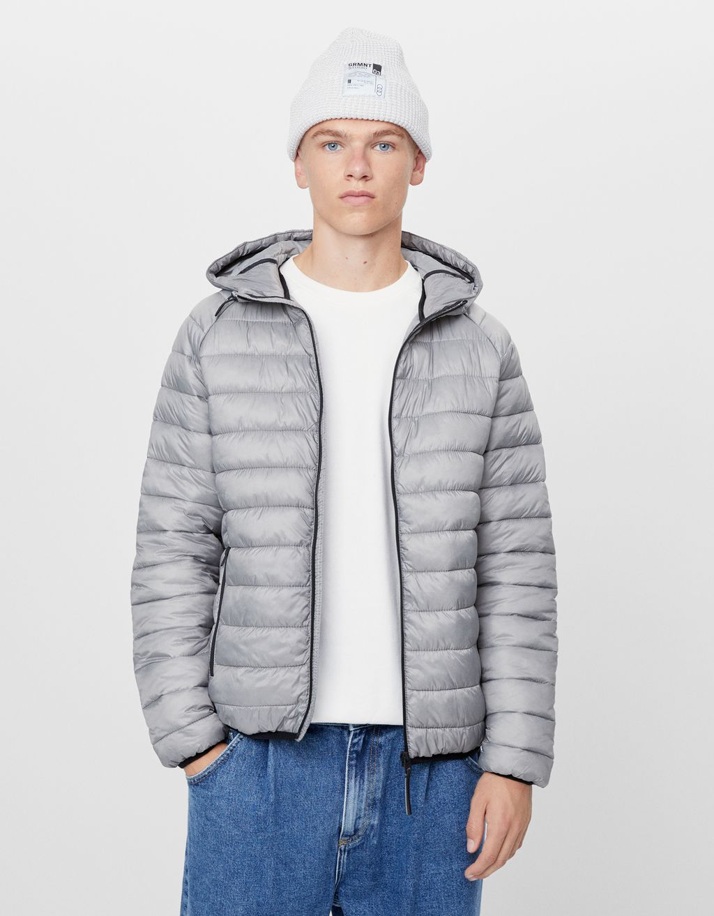 Lightweight hooded puffer jacket