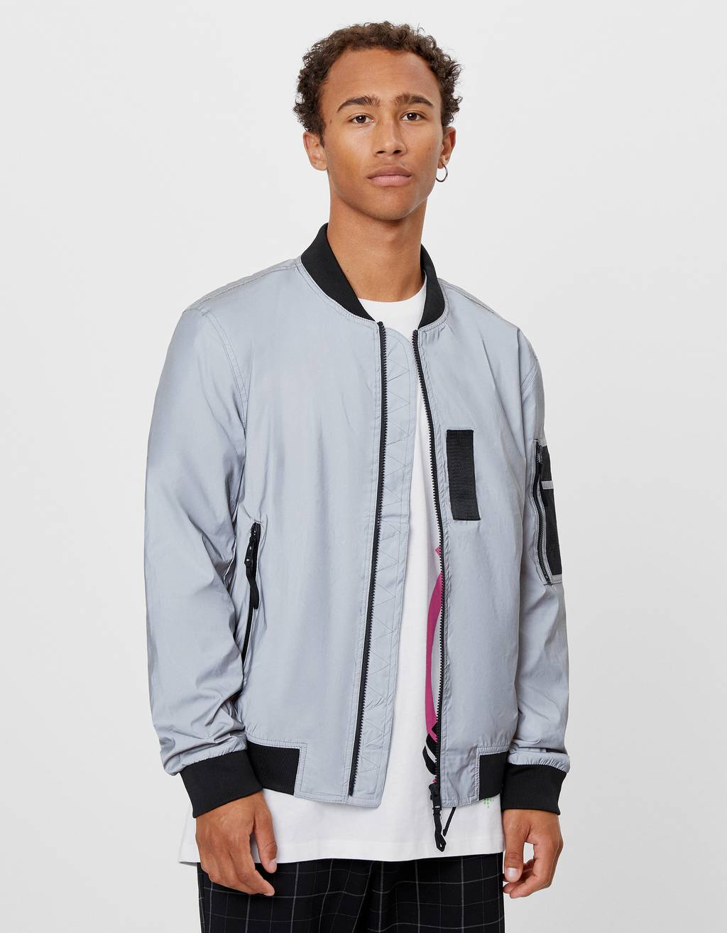 Reflective bomber jacket