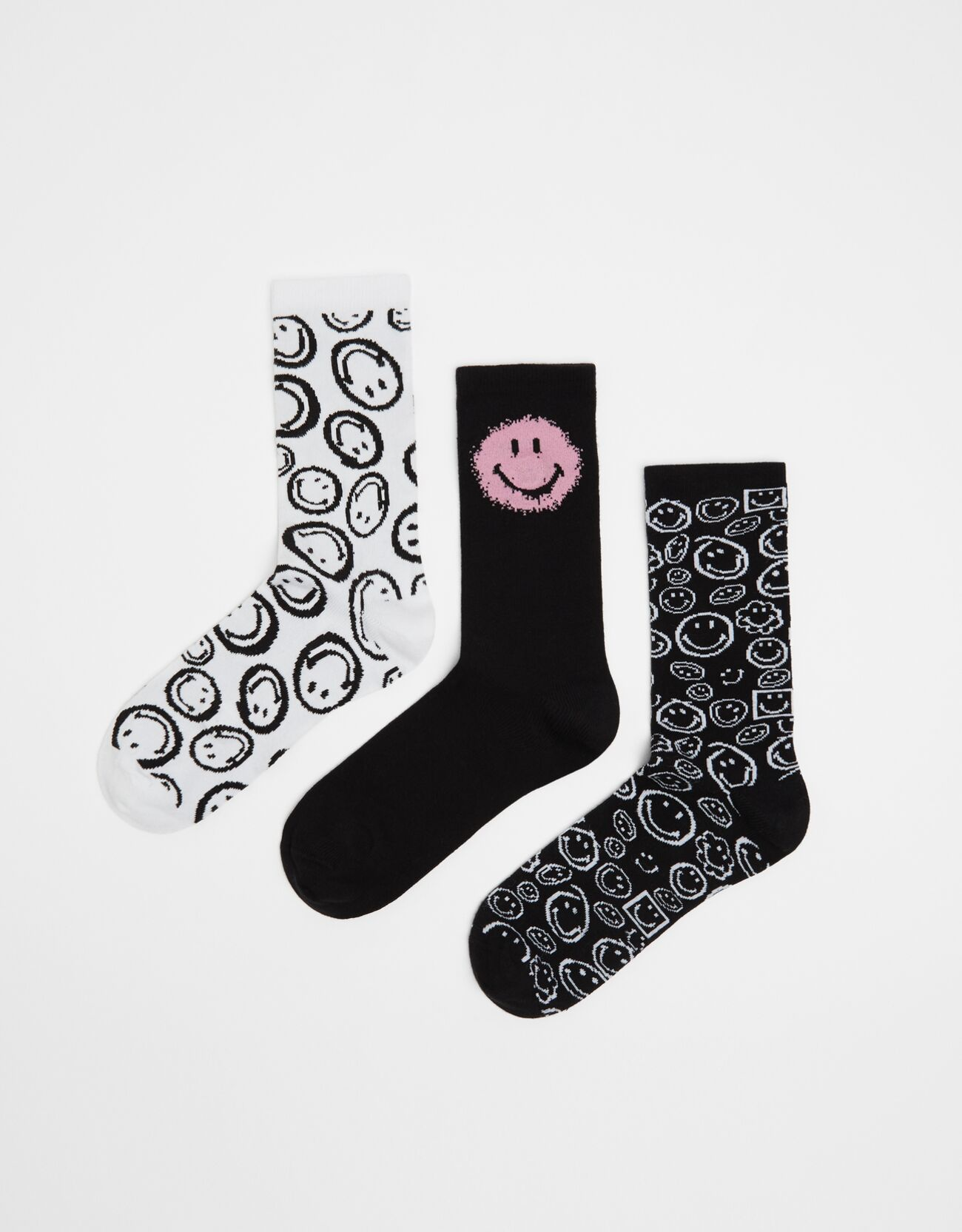 bershka -  Pack Smiley-Socken Herren M Schwarz