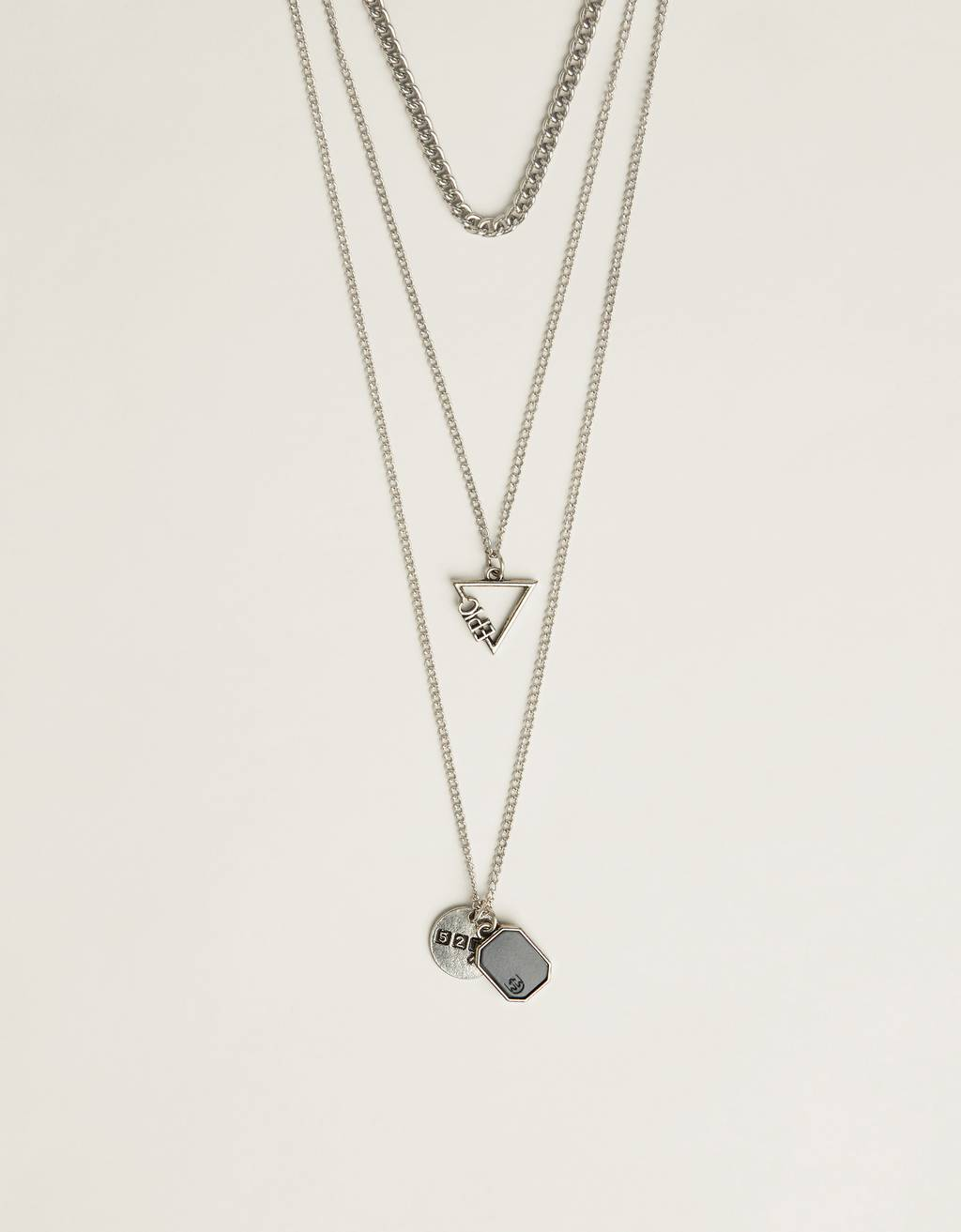 Chain necklace with triangular pendant