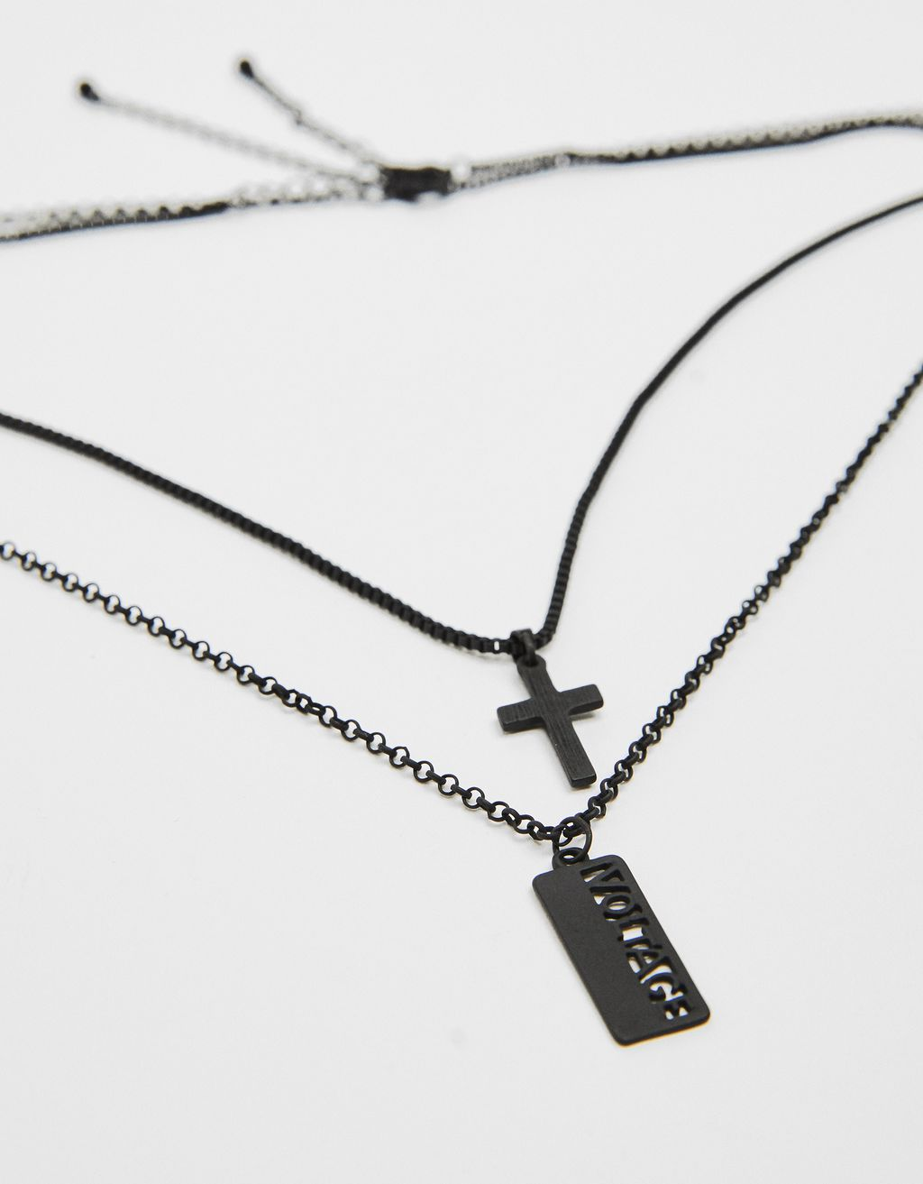 Multi-strand necklace with cross