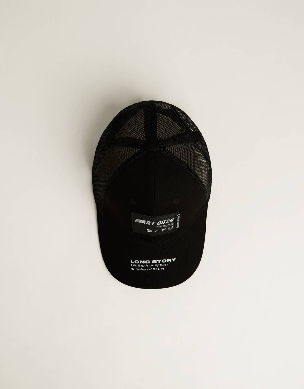 Mesh cap with slogan