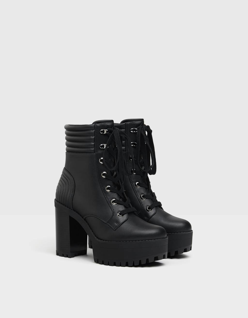 Quilted high-heel platform ankle boots