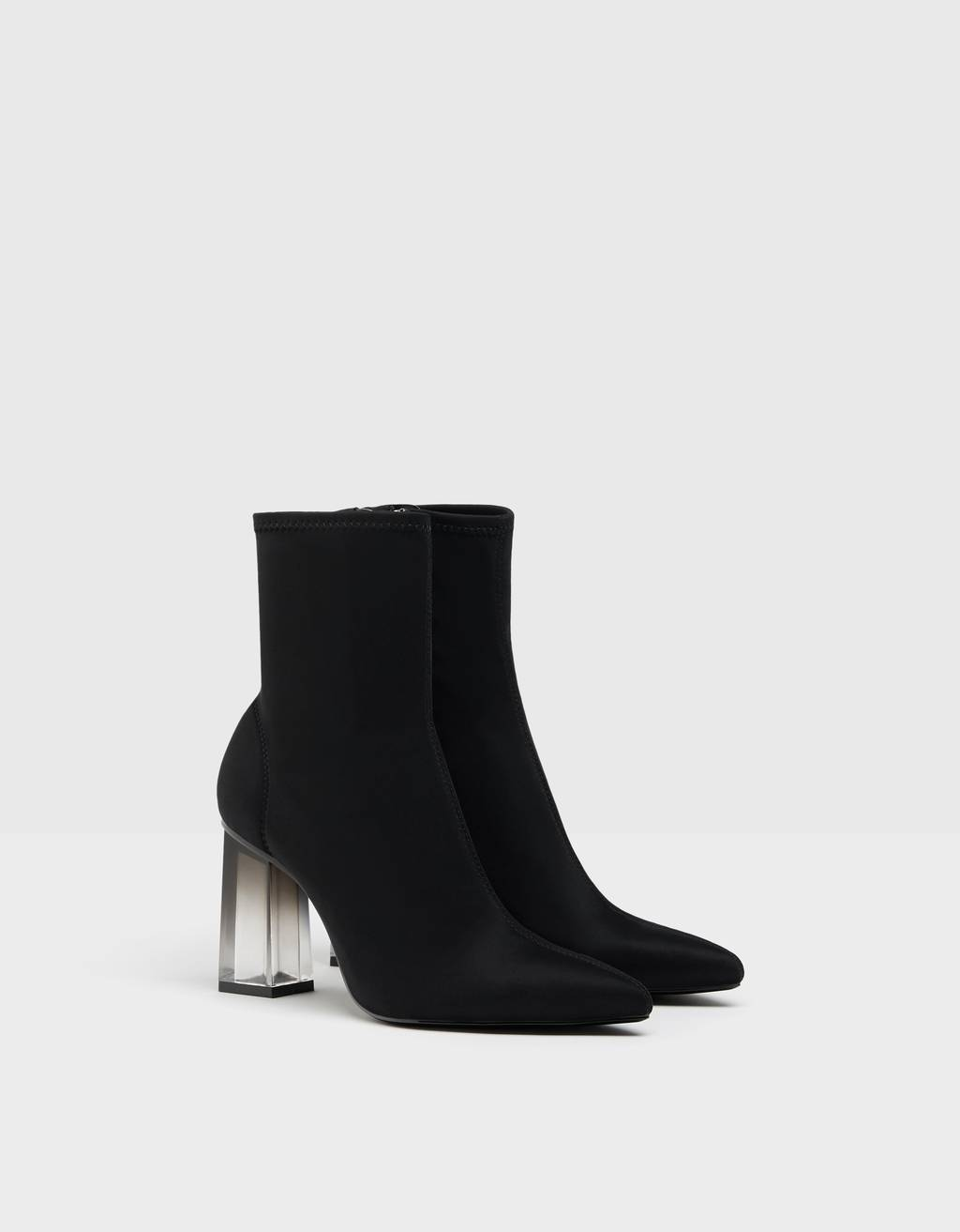 Fitted ankle boots with methacrylate heels